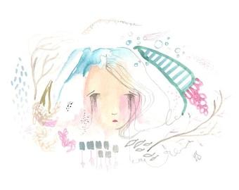 Sad whimsical girl painting original drawing 8 x 11 gouache watercolour