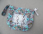 Reversible WIP Bag with vinyl window, Size Small,sugar skulls
