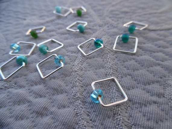 "Snagless mini-markers, set of 12, ""Aqua"", up to 5.5 mm"