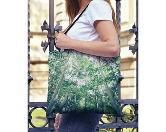 Yoga Tote Bag Aspen Trees Green Farmers Market Bag, Book Bag - Green Tote Bag, Nature Tote, Outdoor Tote - Small & Large Sizes Available