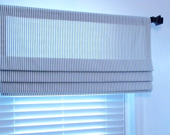 Faux Roman Shade Lined Mock Valance BLUE/IVORY Ticking Stripe  French Country You Choose the Size !!!