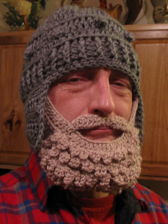 Crochet Dwarf Beard Hat Pattern : Medieval Helmet/ Manly-Man Beard Crochet Pattern Teen/Adult