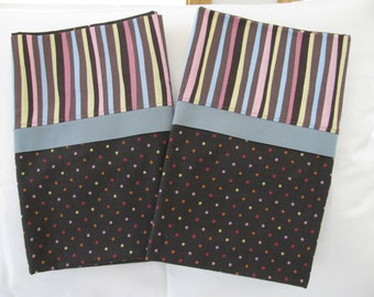 Pillowcases - Set of 2 - Standard Size - Multi-color Dots and Stripes on Brown (P-104)