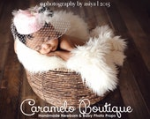 Vintage Inspired Newborn Pillbox Hat Photo Prop-Retro Millinery Baby Girl Pillbox Hat Photo Prop-Retro Fascinator with Pearls and Feather