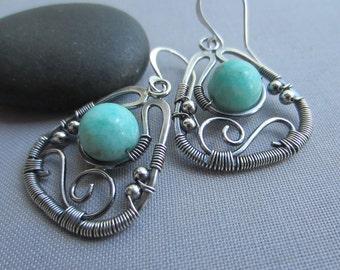 Wire Earrings with Amazonite/ Silver Earrings/ Amazonite earrings/ Wire Wrapped Earrings/ Oxidized Earrings