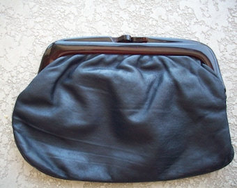 Black Leather Clutch Lucite Closure, Made in Italy