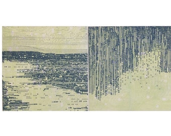 "Sale . Art Prints . Fine Art Etchings .  Denim Blue + Lime Green : Striation221  + Terrain 126. Print Size 9 1/2"" x 9 1/2"" .unframed"