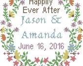 Modern Wedding Cross Stitch Pattern Floral Border with Happily Ever After, Names & Date