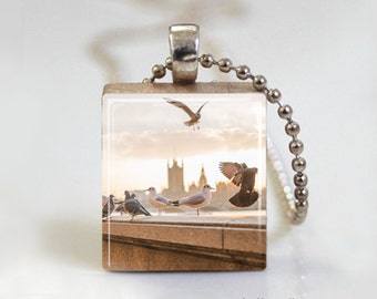 Birds in the Sky - Scrabble Tile Pendant - Free Ball Chain Necklace or Key Ring
