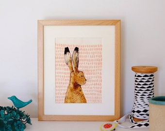 A5 Giclee print: Hare illustration