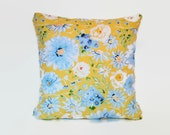 Yellow blue and white floral pillow cushion cover.   Single cover for 18x18 pillow insert.  Cottage shabby chic window seat spring decor