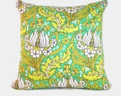 Green Yellow Tropical Boho Floral Decorative Pillow Covers. 1 cover for 20x20 insert. Amy Butler fabric. Bedroom, nursery, living room