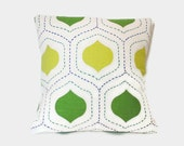 Retro green and yellow decorative throw pillow covers.  Lemon and Lime colors.  1 cover for 18x18 insert. Retro pillow mod pillow.