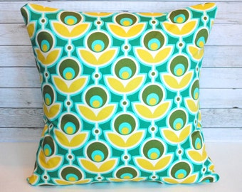 Emerald green and sunny yellow floral decorative pillow cover.  1 cover for 20x20 pillow insert. Retro mod colorful tulip decor