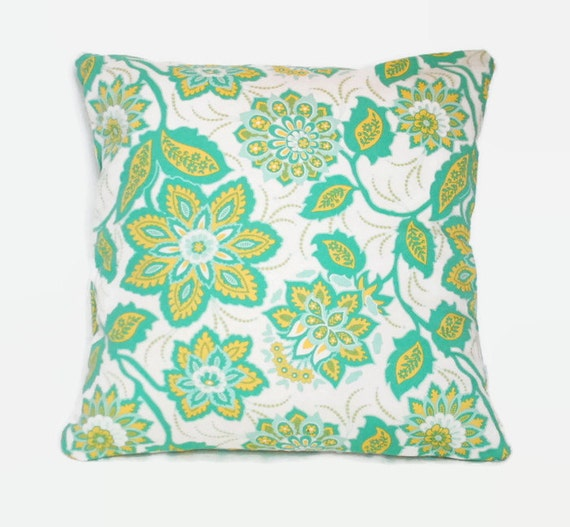 Floral decorative pillow cushion cover in green yellow and white.  1 cover for 18x18 pillow insert. Shabby chic retro cottage window seat