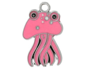 4 PINK JELLYFISH Charms Pendants, Silver charms with enamel,  29x19mm, che0514