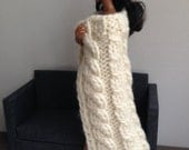 Super Chunky Cable-Knit Throw Blanket in Off-White for sixth scale diorama or playscale doll house