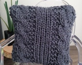 One Modern Cable Knit Pillow in Grey for one sixth scale dollhouse or diorama