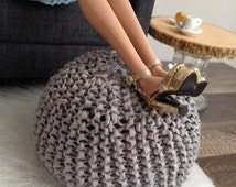 Exclusive! Handknitted Pouf Ottoman in Grey for sixth scale or playscale diorama or dollhouse