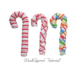 Baby Washcloth Candy Cane, WashAgami ™, Instructional Video