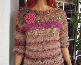 jumper/sweater in dark pink gold handmade knitted with a rose motif winter gift idea for her women clothing by goldenyarn
