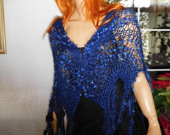 shawl/scarf/wrap in ink blue romantic Stevie Nicks style handmade knitted women accessories by golden yarn