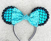 NEW Kiss the Girl Mermaid Ears - Turquoise and Black - Ariel Little Mermaid Princess dress-up costume WDW, child woman Disneyland, Disney