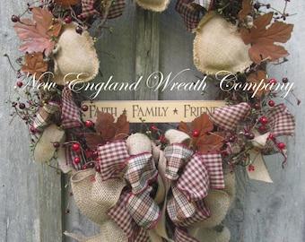 Fall Wreath, Autumn Wreath, Americana Wreath, Fall Country Wreath, Americana Prim Wreath, Thanksgiving, Harvest Wreath, Housewarming Gift