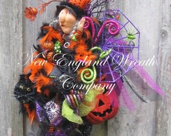Halloween Wreath, Fall Wreath, Fall Swag, Whimsical Fall Wreath, Witch Wreath, Elegant Halloween Swag, Halloween Party Decor, Elegant Witch