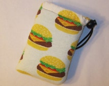"""Padded Pipe Pouch, Cheeseburger Bag, Pipe Case, Pipe Bag, Padded Pouch, Stoner Gift, Munchies Bag, Hamburger Bag, Small Case - 5"""" DRAWSTRING"""