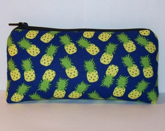 "Pipe Pouch, Pineapple Bag, Pipe Case, Pipe Bag, Padded Pipe Pouch, Blue Fruit Bag, Hippie Gift, Padded Zipper Bag, Cute Pouch - 5.5"" SMALL"