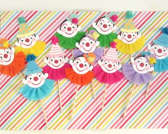 One Dozen Clown/Circus/Carnival Cupcake Toppers