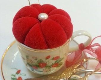 Vintage Avon Roses Demitasse Pincushion- repurposed, teacup, magical quilting, sewing accessories