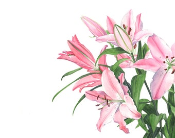 Lily print of watercolour painting - 5 by 7 size smallest print - L6915 - botanical art