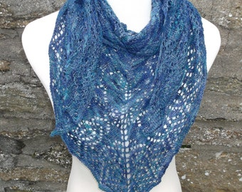 Women's hand knitted hand dyed luxury triangular shawl / shawlette in blue sparkle lace. OOAK