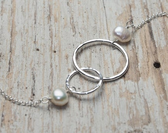 mother daughter two circles intertwined necklace with pearls, ildiko jewelry