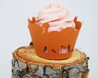 Thanksgiving Turkey and Acorn Cupcake Wrappers In Your Choice of Color Qty 12 By Your Little Cupcake