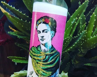Frida Kahlo prayer candle, glittered candle, Frida, Mexican art