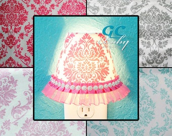 Damask Night Light - Custom Fabric Shade Plug-In Outlet Lamp with On/Off Switch in Silver/Grey, Pink or Aqua Glitter