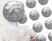 silver disco ball party circles - printable party decorations - cupcake topper glitter ball dance birthday party teenager retro