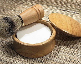 Men's Shaving Set, Shave Kit, Shave Set in Natural Finish Wood Bowl with Lid