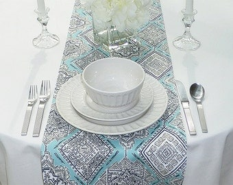 Choose your Table Runner, Turquoise & Grey Table Runner