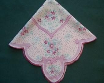 Vintage Handkerchief/Hankie White Lavender & Aqua Floral Print Design - Ava