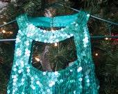 Aqua sequin party dress for women