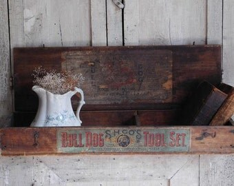Rare Antique Wooden Tool Box, Bull Dog Tool Set, Simmons Hardware Co. St. Louis Mo. S. H. Co.,