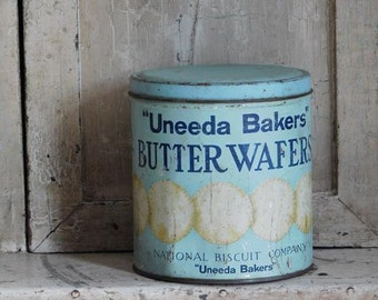 Vintage Blue Cracker Tin, Uneeda Bakers Butter Wafers
