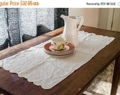 ON SALE Vintage White cotton table runner