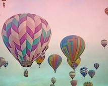 Hot Air Balloons Photography Print 12x18 Fine Art New Mexico Balloon Fiesta Whimsical Sunrise Pink Aqua Sky Landscape Photography Print.