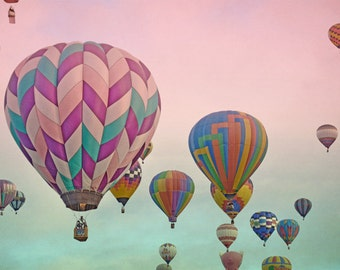 Hot Air Balloons Photography Print 12x18 Fine Art New Mexico Balloon Fiesta Whimsical Sunrise Pink Aqua Sky Landscape Photography Print.