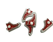 Red Converse Hi Top Silver Enameled Charm - Sneaker - Chuck Taylor - 30mm x 17mm x 2mm - You Pick Quantity